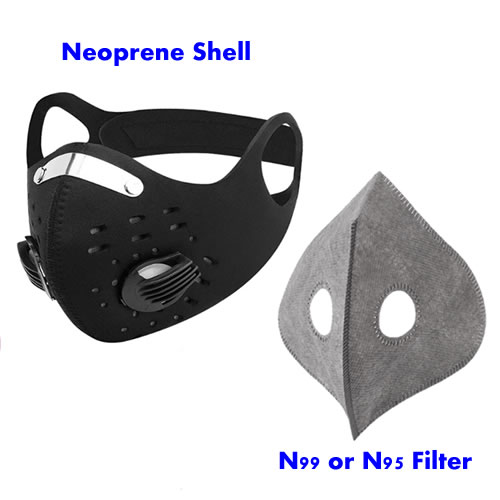 neoprene half mask with filter